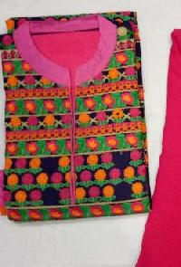 Ladies Pink & Green Embroidered Unstitched Suits