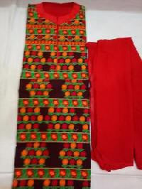 Ladies Red & Green Embroidered Unstitched Suits