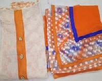 Ladies Orange & White Chanderi Unstitched Suit