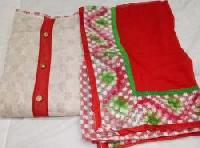Ladies Red & White Chanderi Unstitched Suit
