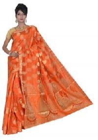 Orange Semi Tussar Silk Saree