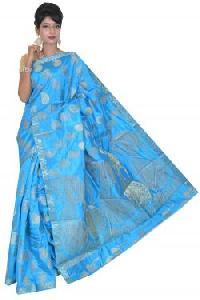 Blue Semi Tussar Silk Saree