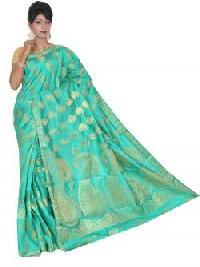 Green Semi Tussar Silk Saree