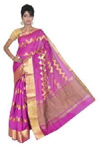 Glamourus Pink Silk Cotton Saree
