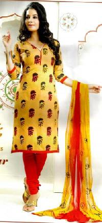 Ladies Yellow & Red Churidar Unstitched Suits