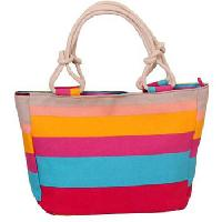 Flower Printed Striped Large Beach Bag