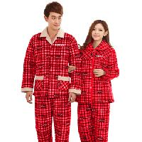 Plaid Coral Fleece Night Pajama Set