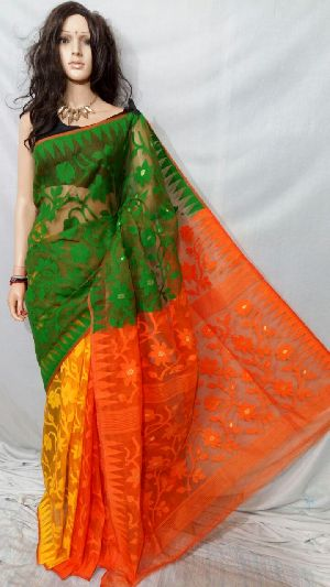 Dhakai Jamdani Saree Without Blouse 02