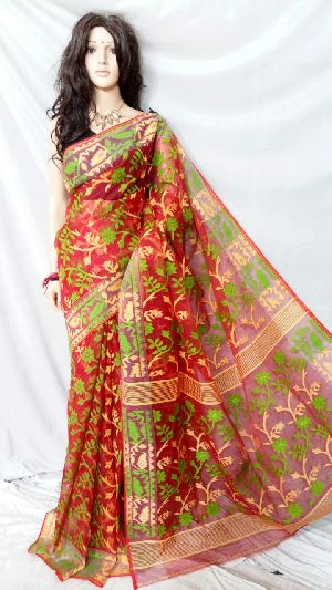 Dhakai Jamdani Saree Without Blouse 11