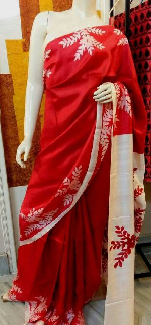 Hand Print Pure Silk Saree with Blouse Peice