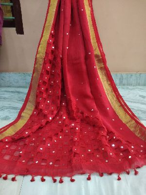 Mirror & Cutwork Linen Sarees