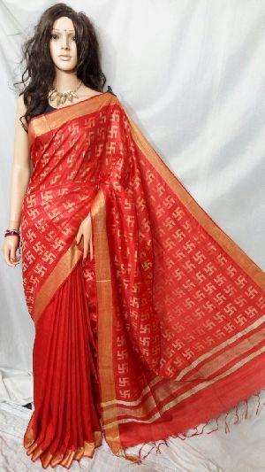 Silk Cotton Saree With Blouse 16