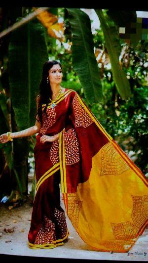 Silk Cotton Saree With Blouse 28