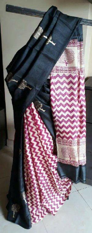 Tussar Silk Saree With Blouse 13