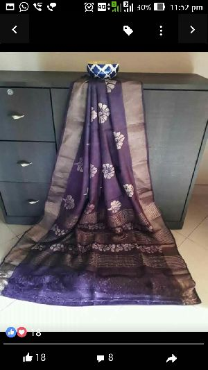 Tussar Silk With Zari Border 02
