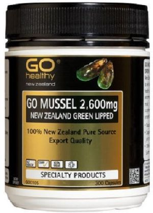 Go Healthy GO Mussel NEW ZEALAND Green Lipped Mussel 2,600mg 300 Capsules