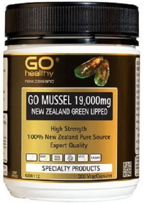 Go Healthy GO Mussel New Zealand Green Lipped Mussel 19,000 High Strength 300 Capsules