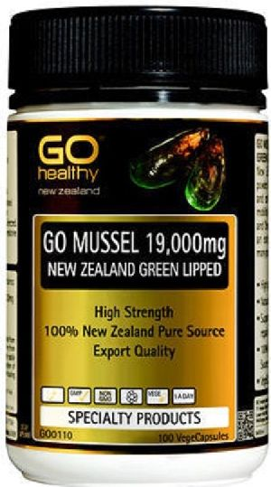 Go Healthy GO Mussel New Zealand  Green Lipped Mussel 19,000 High Strength 100 Capsules