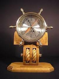 Wheel Clock with Wooden Base