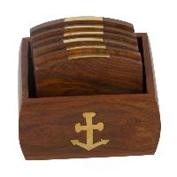 Set of 6 Hand Carved Wooden Bar Coasters & Holder Fine Polished Anchor Embedded