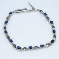 925 Sterling Silver Blue Sapphire & Diamond Gemstone Bracelet