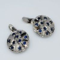 925 Sterling Silver Blue Sapphire Gemstone Men's Cufflink
