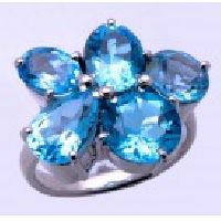 925 Sterling Silver Blue Topaz Gemstone Ring