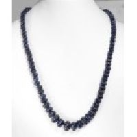 925 Sterling Silver Carved Blue Sapphire Gemstone Beads Necklace