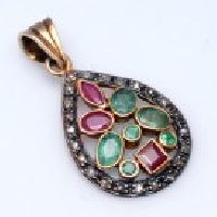 925 Sterling Silver Emerald, Ruby & Diamond Gemstone Pendant