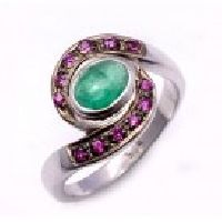 925 Sterling Silver Emerald & Ruby Gemstone Ring