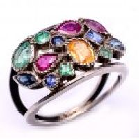 925 Sterling Silver Emerald,Ruby & Sapphire Gemstone Ring
