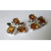 925 Sterling Silver Golden Topaz & CZ Gemstone Men's Cufflink