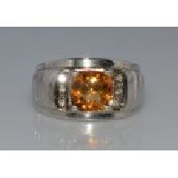 925 Sterling Silver Golden Topaz & Diamond Man'S Ring
