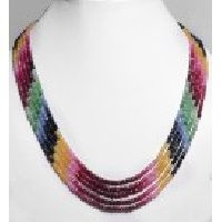 925 Sterling Silver Multi Precious Gemstone Faceted Beads Necklace