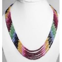 925 Sterling Silver Multi Precious Gemstone Faceted Necklace