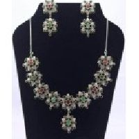 925 Sterling Silver Ruby, Emerald, Sapphire & Zircon Gemstone Victorian Necklace Set