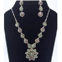 925 Sterling Silver Ruby, Emerald & Zircon Gemstone Victorian Necklace Set