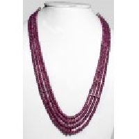 925 Sterling Silver Ruby Gemstone Faceted Beads Necklace