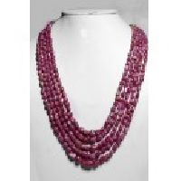 925 Sterling Silver Ruby Natural Shape Gemstone Tumble Beads Necklace