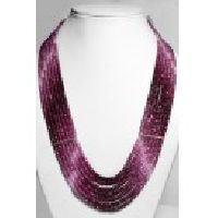 925 Sterling Silver Ruby Shaded Gemstone Faceted Beads Necklace
