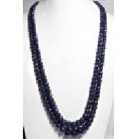 925 Sterling Silver Sapphire Gemstone Faceted Beads Necklace