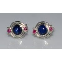 925 Sterling Silver Sapphire & Ruby Gemstone Men's Cufflink