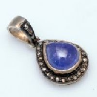 925 Sterling Silver Tanzanite & Diamond Gemstone Pendant