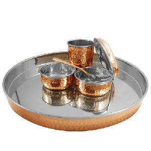SS Copper Dinner Set