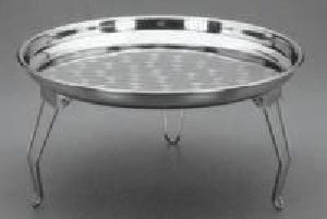 Stainless Steel Round Tray With Stand