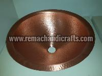 2001 Undermount Hammered Round Copper Sink