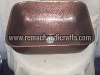 3006 Undermount Hammered Rectangular Copper Sink