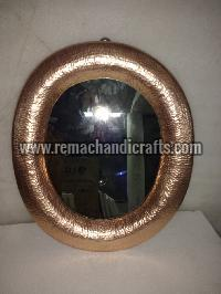 6007 Oval Shaped Hammered Copper Mirror