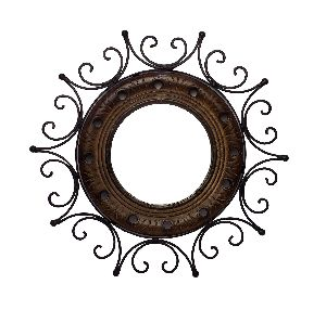 Wood Iron Sun Shaped Mirror Wall Hanging