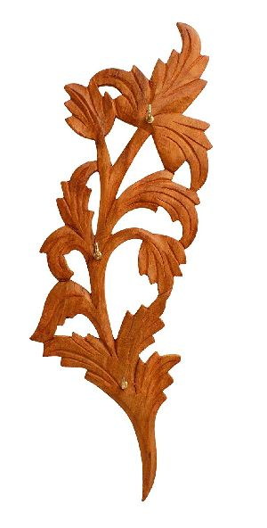Wooden Leaf Shaped Single Piece Key Hanger